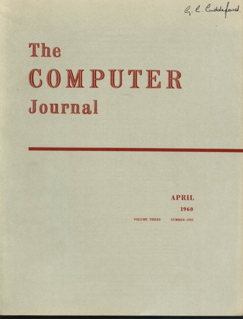 Scan of Document: The Computer Journal April 1960