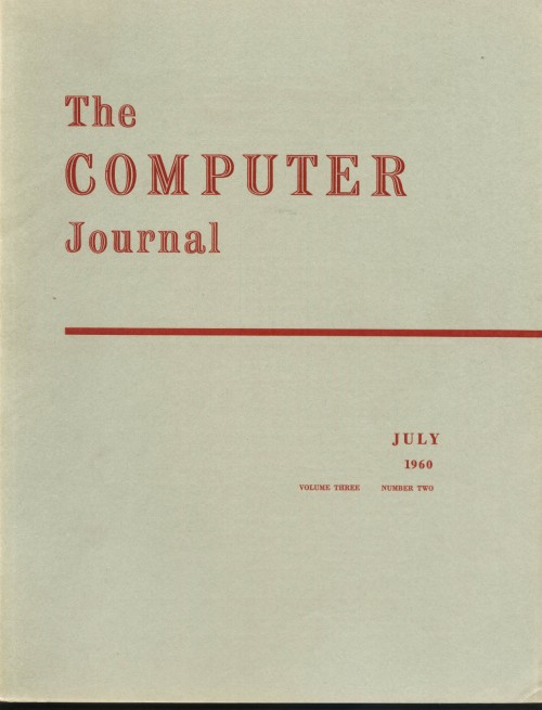 Scan of Document: The Computer Journal July 1960
