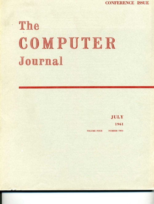 Scan of Document: The Computer Journal July 1961