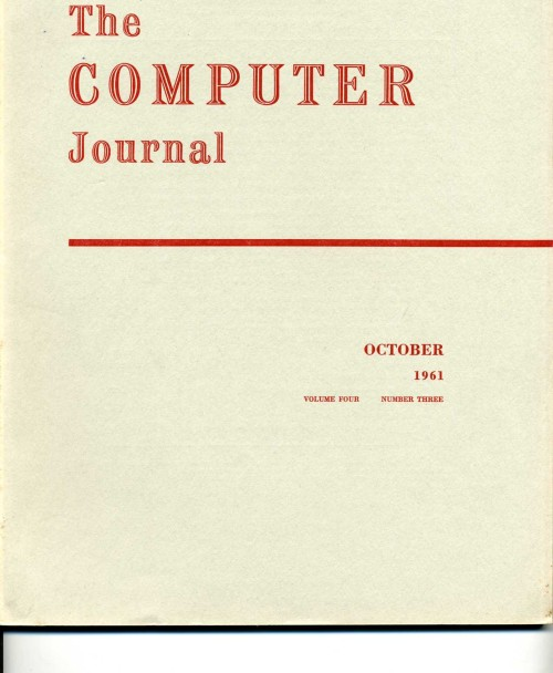 Scan of Document: The Computer Journal October 1961