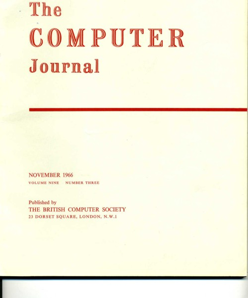 Scan of Document: The Computer Journal November 1966