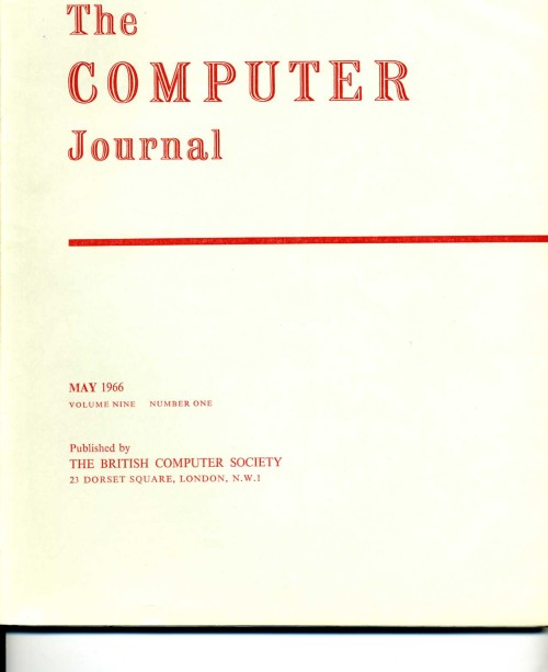 Scan of Document: The Computer Journal May 1966