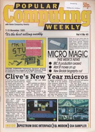 Scan of Document: Popular Computing Weekly Vol 4 No 45 - 7-13 November 1985