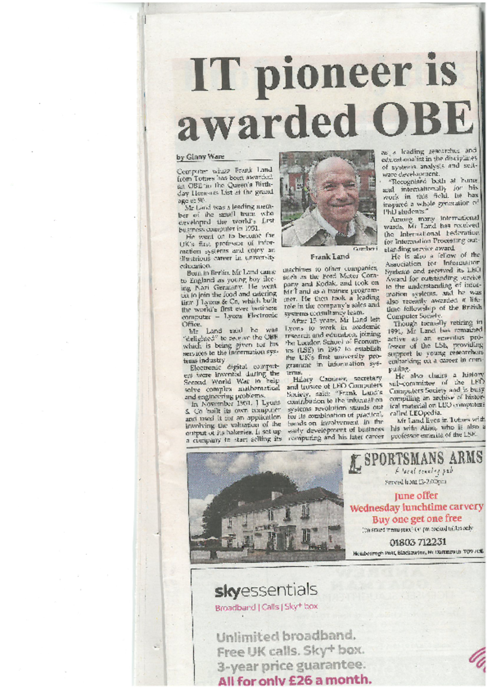 Article: IT pioneer is awarded OBE