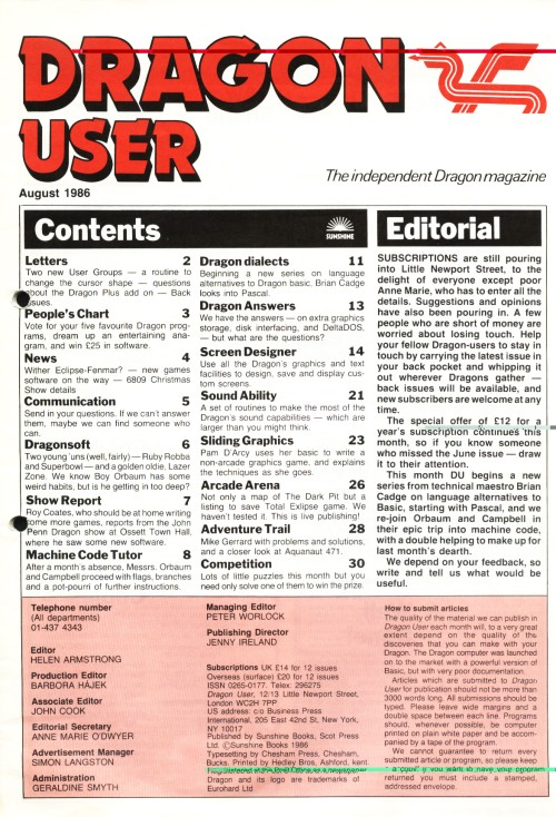 Scan of Document: Dragon User - August 1986