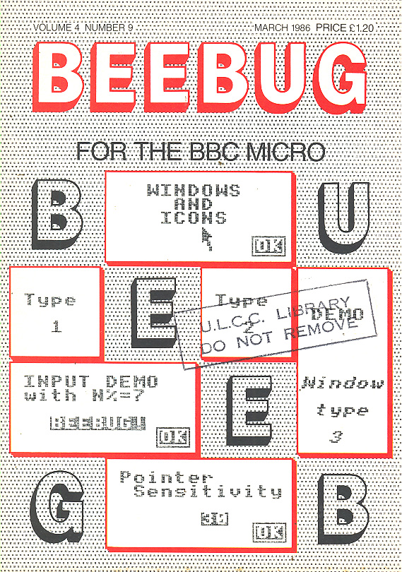 Article: Beebug Newsletter - Volume 4, Number 9 - March 1986