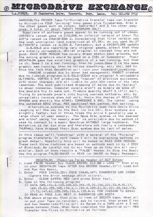 Scan of Document: Microdrive Exchange Issue 11