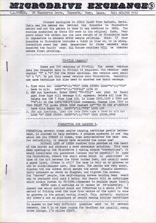 Scan of Document: Microdrive Exchange Issue 3