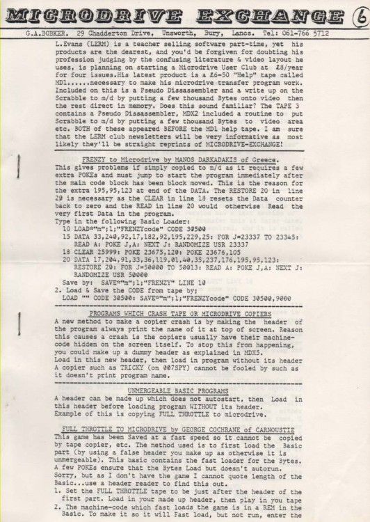 Scan of Document: Microdrive Exchange Issue 6