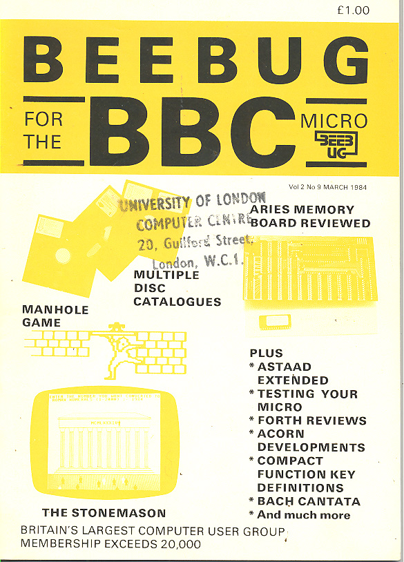 Article: Beebug Newsletter - Volume 2, Number 9- March 1984