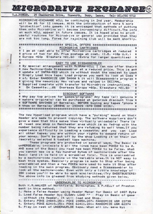 Scan of Document: Microdrive Exchange Issue 10