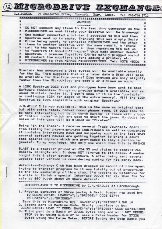 Scan of Document: Microdrive Exchange Issue 12
