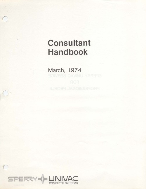 Scan of Document: Consultant Handbook March 1974