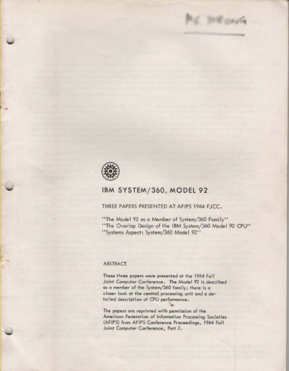 Scan of Document: IBM System  360 Model 92 Three Papers