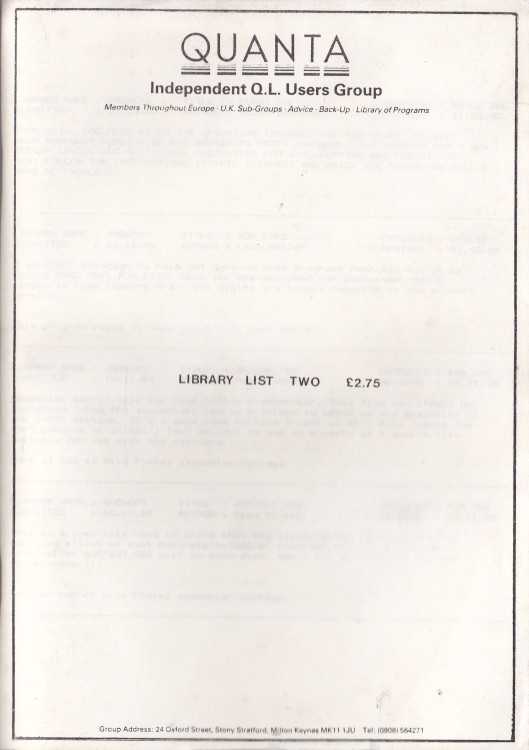 Scan of Document: Quanta Library List Two