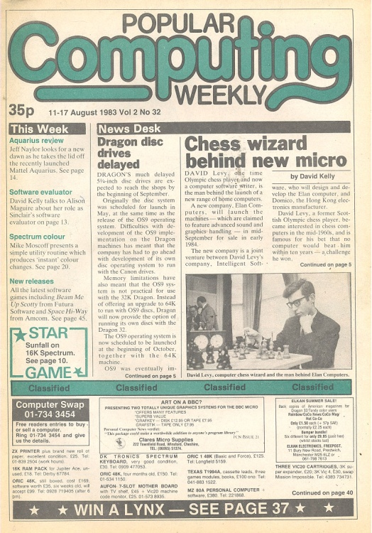 Article: Popular Computing Weekly Vol 2 No 32 - 11-17 August 1983