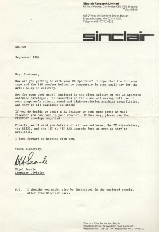 Scan of Document: Apology letter from Nigel Searle