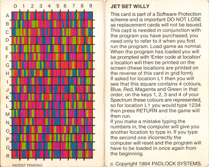 Scan of Document: Jet Set Willy Code Card