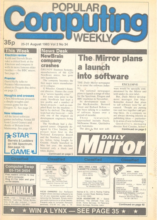 Article: Popular Computing Weekly Vol 2 No 34 - 25-31 August 1983