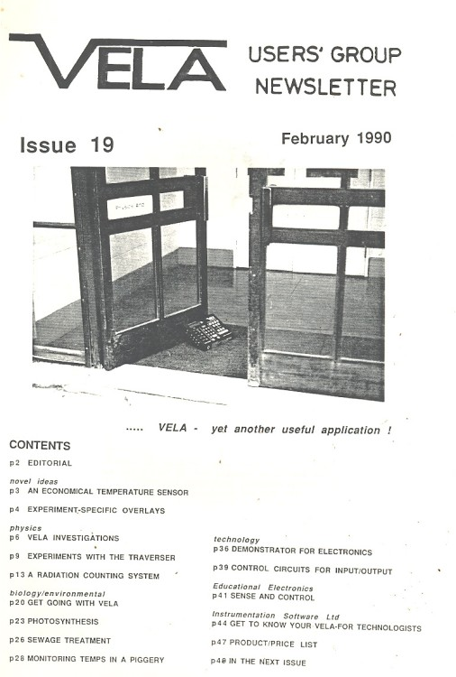 Scan of Document: Vela User's Group Newsletter  - Issue 19 February 1990