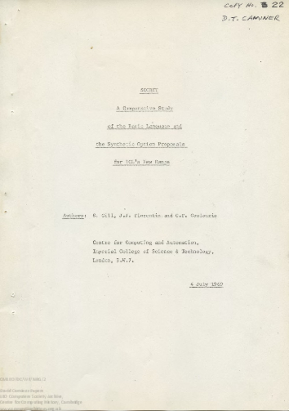 Article: 57854 ICL New Range Organisation correspondence and papers (1969)