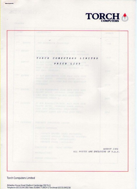 Scan of Document: Torch Price List August 1984