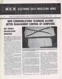 NCR Electronic Data Processing News Vol 3 No. 1