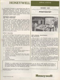 Honeywell Series 200 leaflets and documents