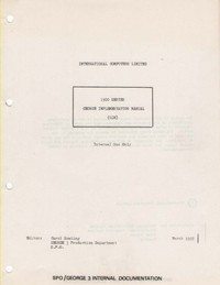 ICL 1900 Series George Implementation Manual GIM 14.4 to GIM 18.DD.1