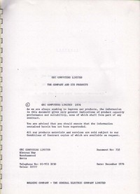 GEC - The Company & Its Products 1976