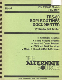 TRS-80 ROM Routines Documented