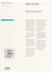IBM PS/2 55 SX - Technical Specifications Brochure