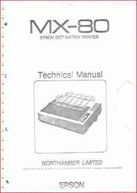 Epson - MX-80 Dot Matrix Printer - Technical Manual