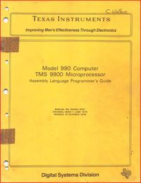 TMS 9900 Microprocessor - Assembly Language Programmer's Guide