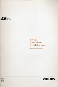 Philips VP415 LaserVision ROM Disc Drive Operating Instructions