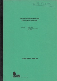 Acorn - The BBC Microcomputer - Disc System User Guide - Temporary Manual