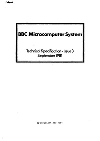 BBC Microcomputer System - Techinical Specification - Issue 3