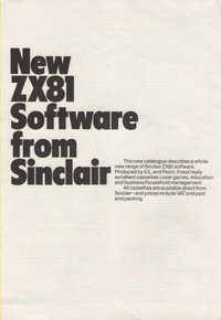 New ZX81 Software from Sinclair
