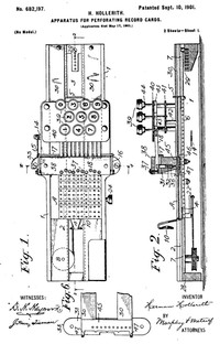 Herman Hollerith patents Apperatus For Punching Record Cards