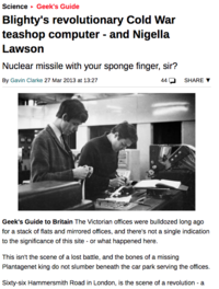 Blighty's Revolutionary Cold War Teashop Computer - and Nigella Lawson