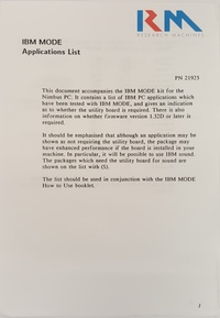 RM Nimbus - IBM Mode Applications List - PN 21925