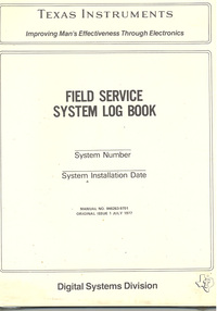 Field Service System Log Book