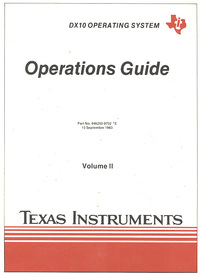 DX 10 Operating System Operations Guide Volume II