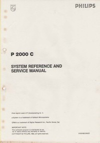 Philips P2000 C Portable Computer - System Reference and Service Manual