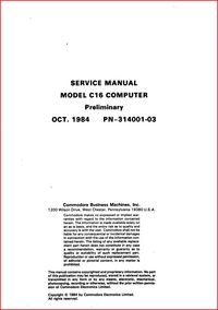 Commodore Service Manual - Model C16 Computer