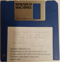 RM Nimbus MSDOS System and Welcome Disk V 3.10 Rel 3.02