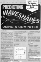 Predicting Waveshapes Using a Computer - Part V - The Resistor-Inductor-Capacitor Circuit