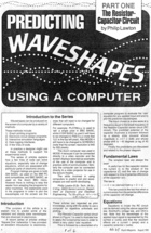 Predicting Waveshapes Using a Computer - Part I - The Resistor-Capacitor Circuit