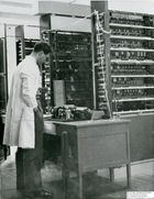60495 Ernest Lenaerts looking at a LEO I teleprinter
