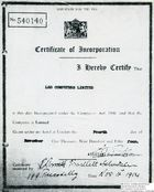 60869 Certificate of Incorporation for LEO Computers Ltd
